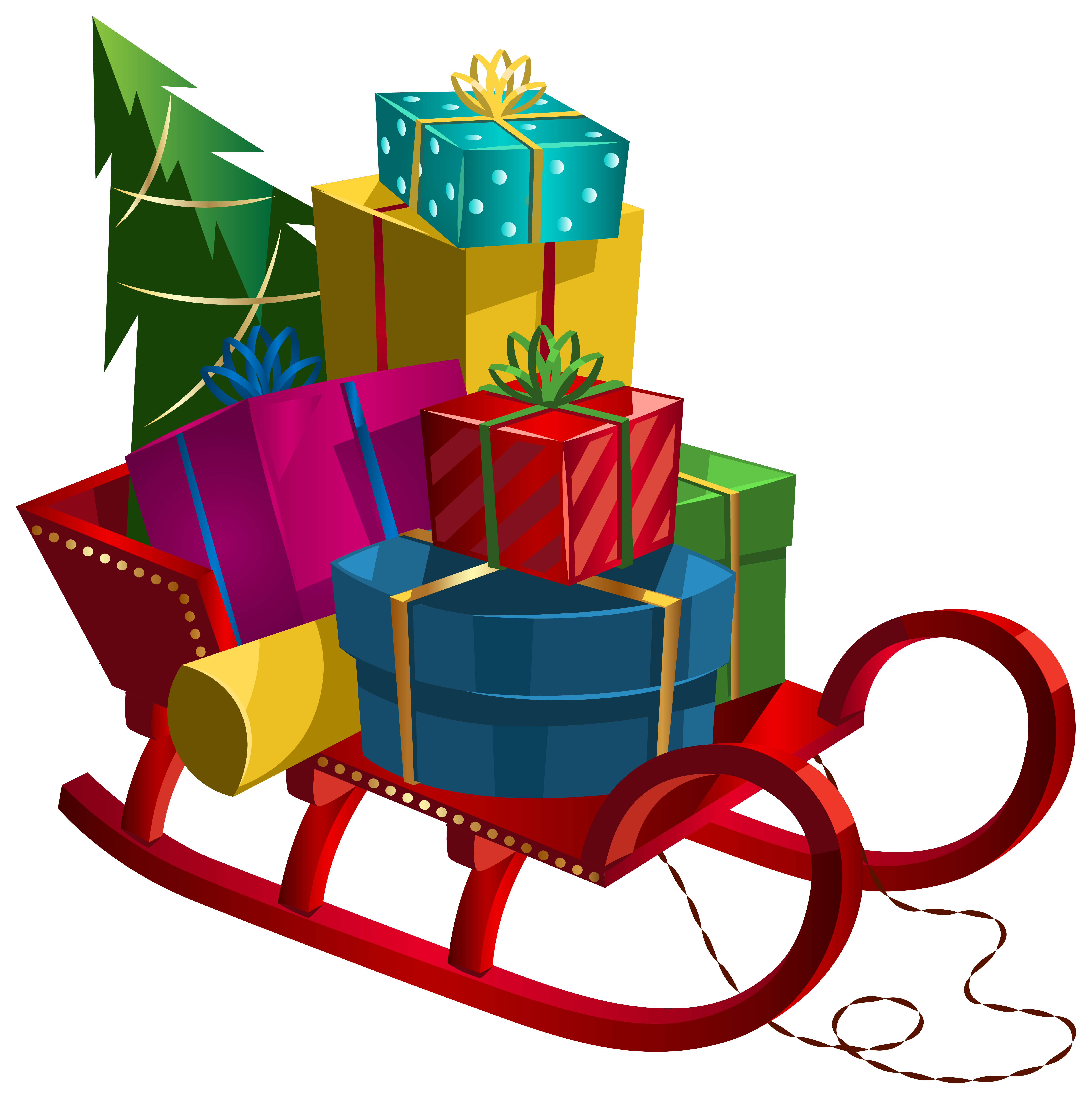 Sleigh clipart sled. Christmas with gifts png