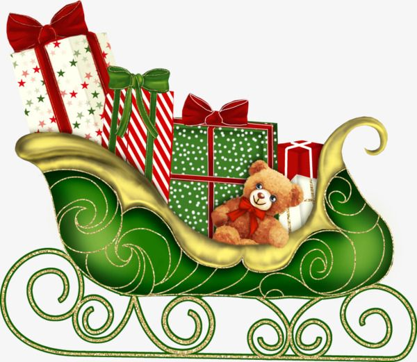 Hand painted christmas sled. Sleigh clipart green