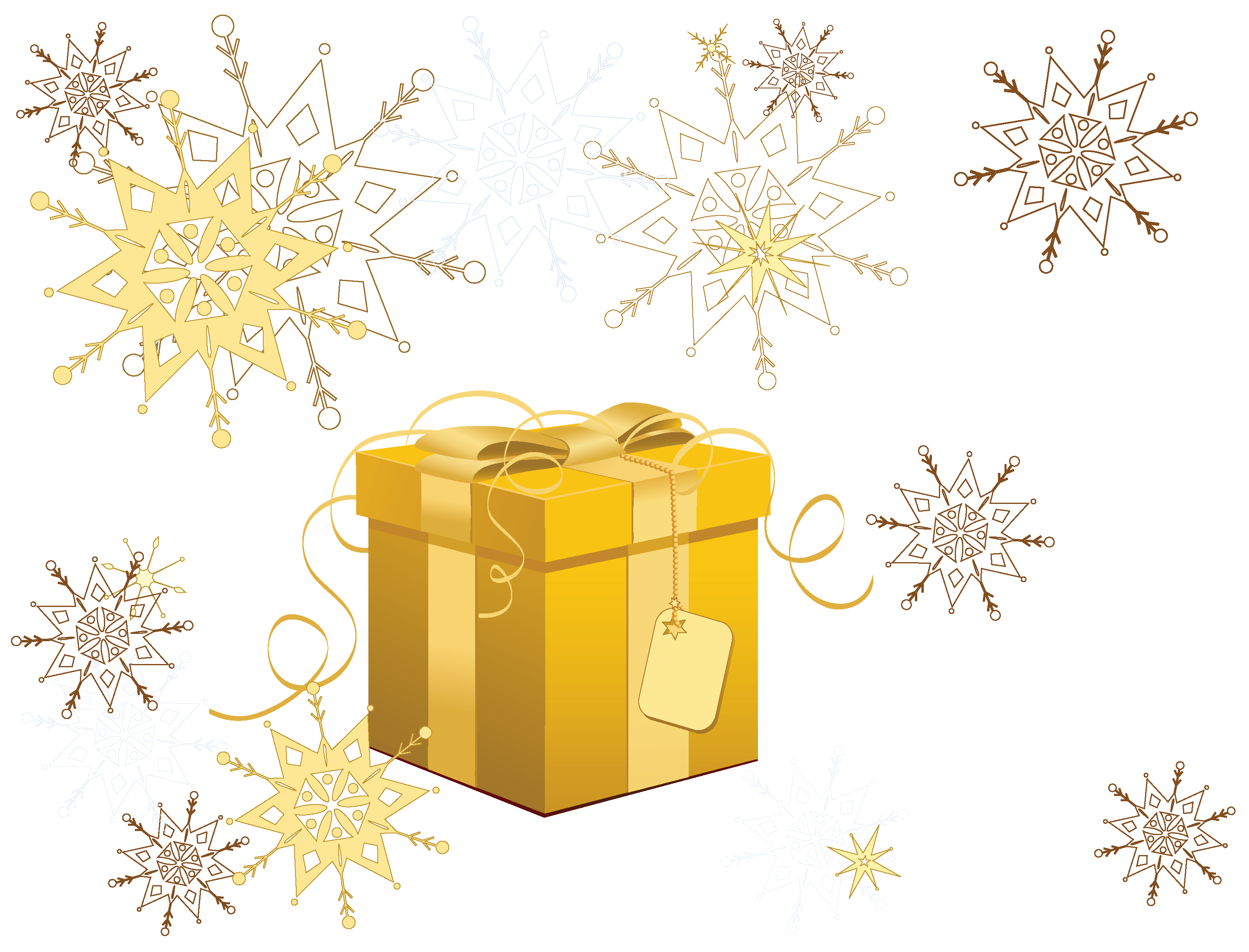 Transparent christmas gift with. Snowflake clipart yellow