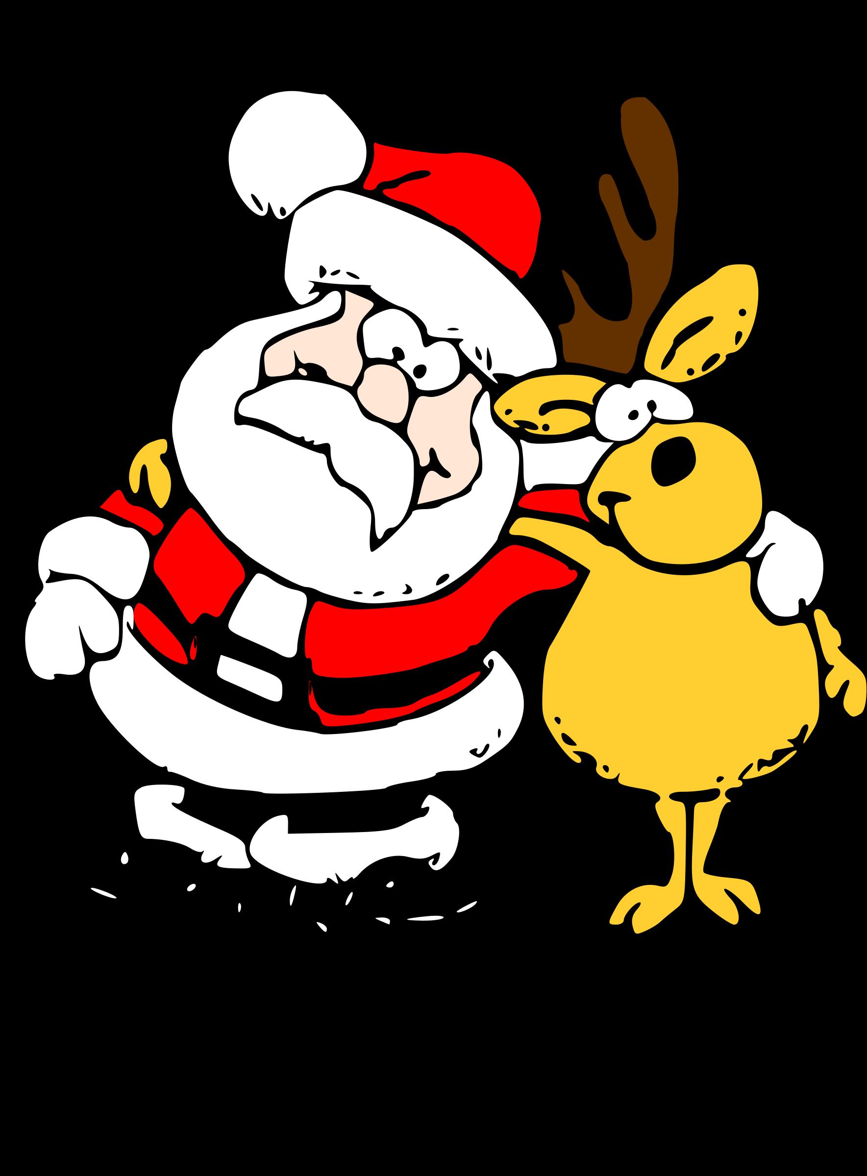 Santa and big image. Clipart reindeer pretty