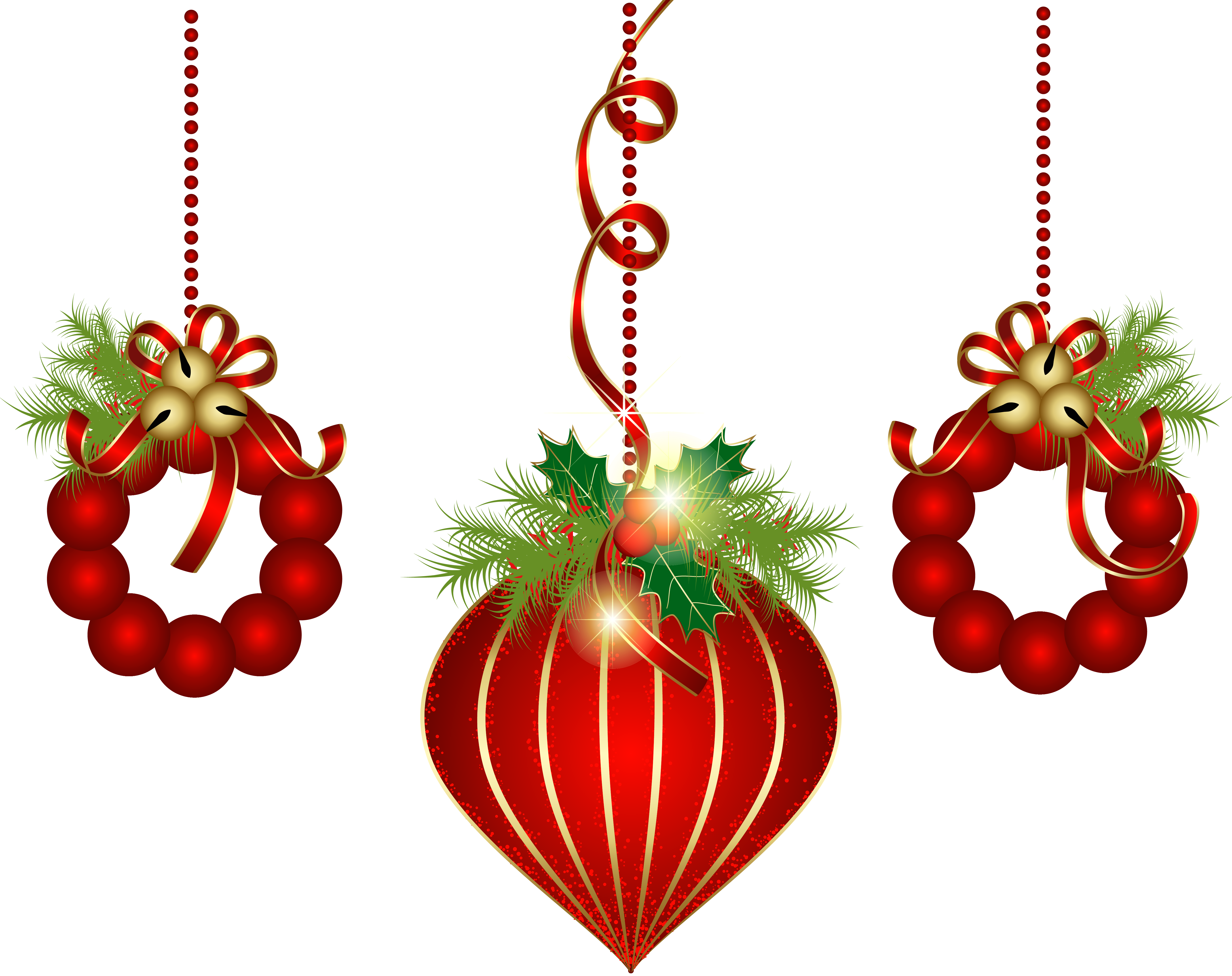 Transparent red ornaments png. Clipart key christmas