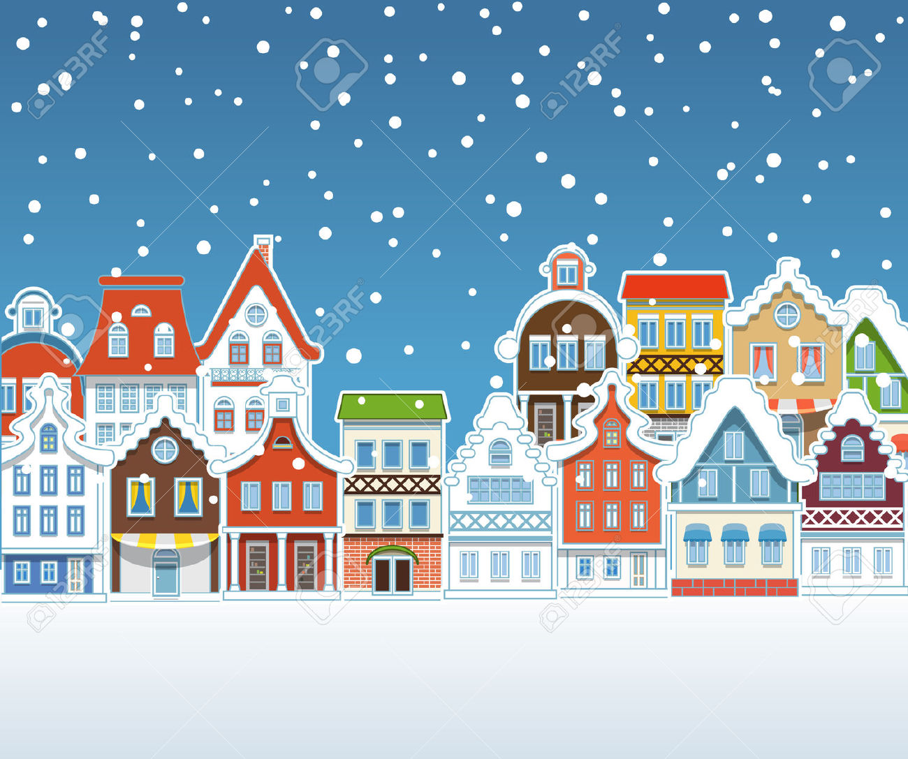 Free christmas village cliparts. Winter clipart town
