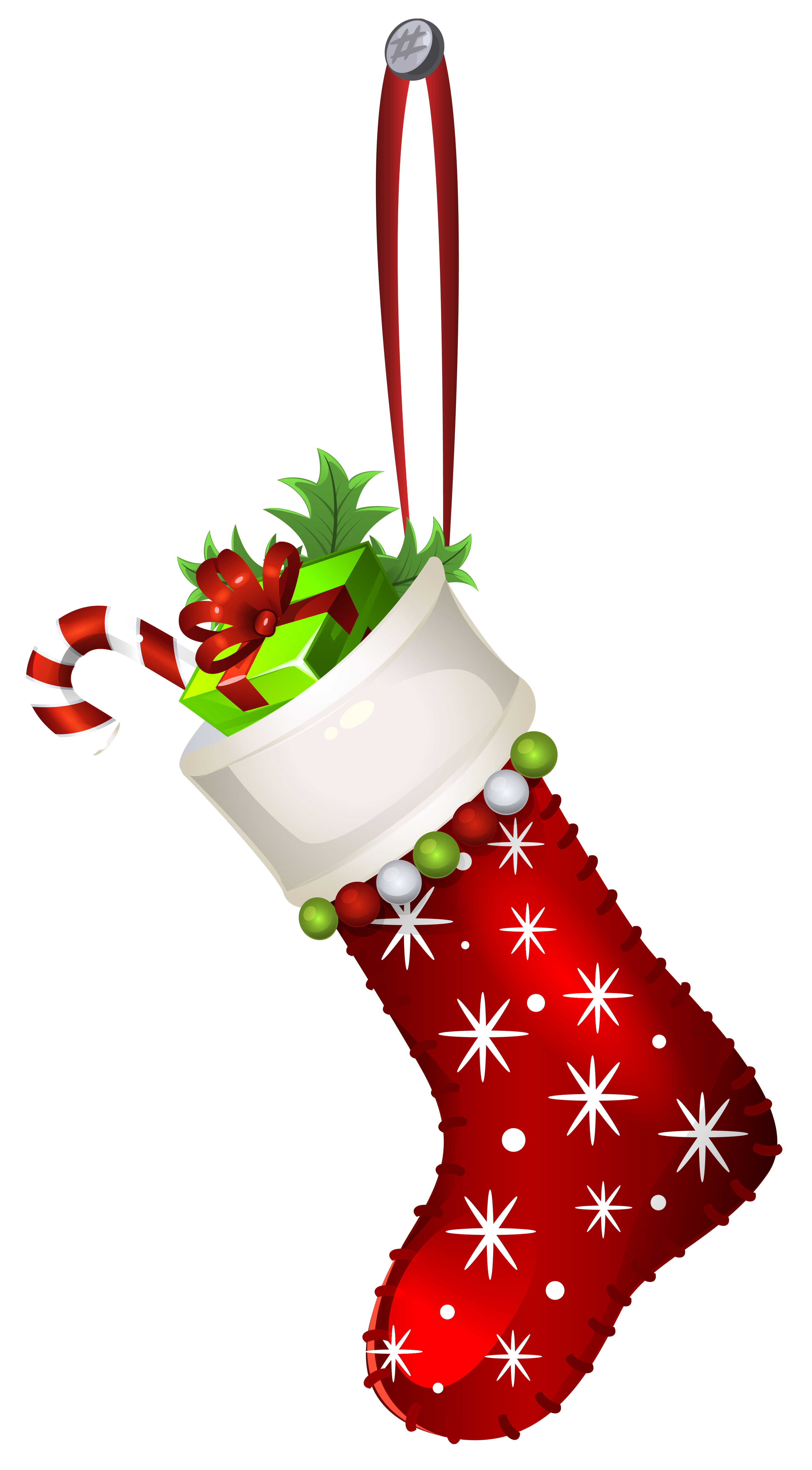 Red stocking png clip. Clipart christmas transparent background