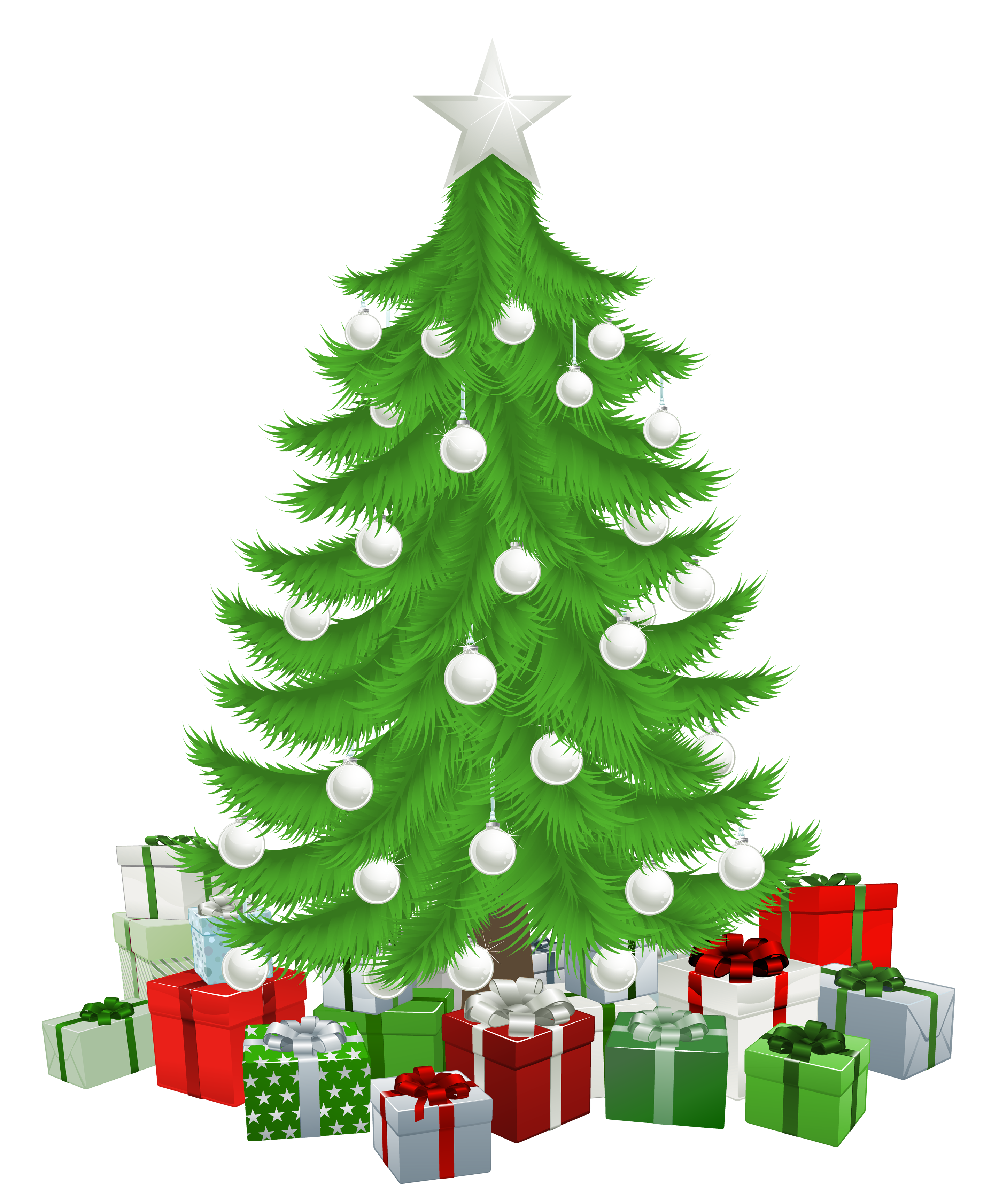 Clipart christmas watercolor. Transparent tree with presents
