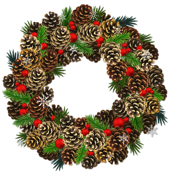 Transparent pinecone wreath png. Clipart christmas watercolor