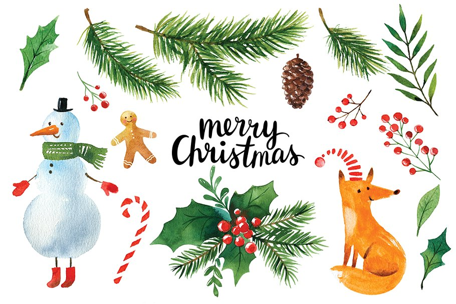 . Clipart christmas watercolor