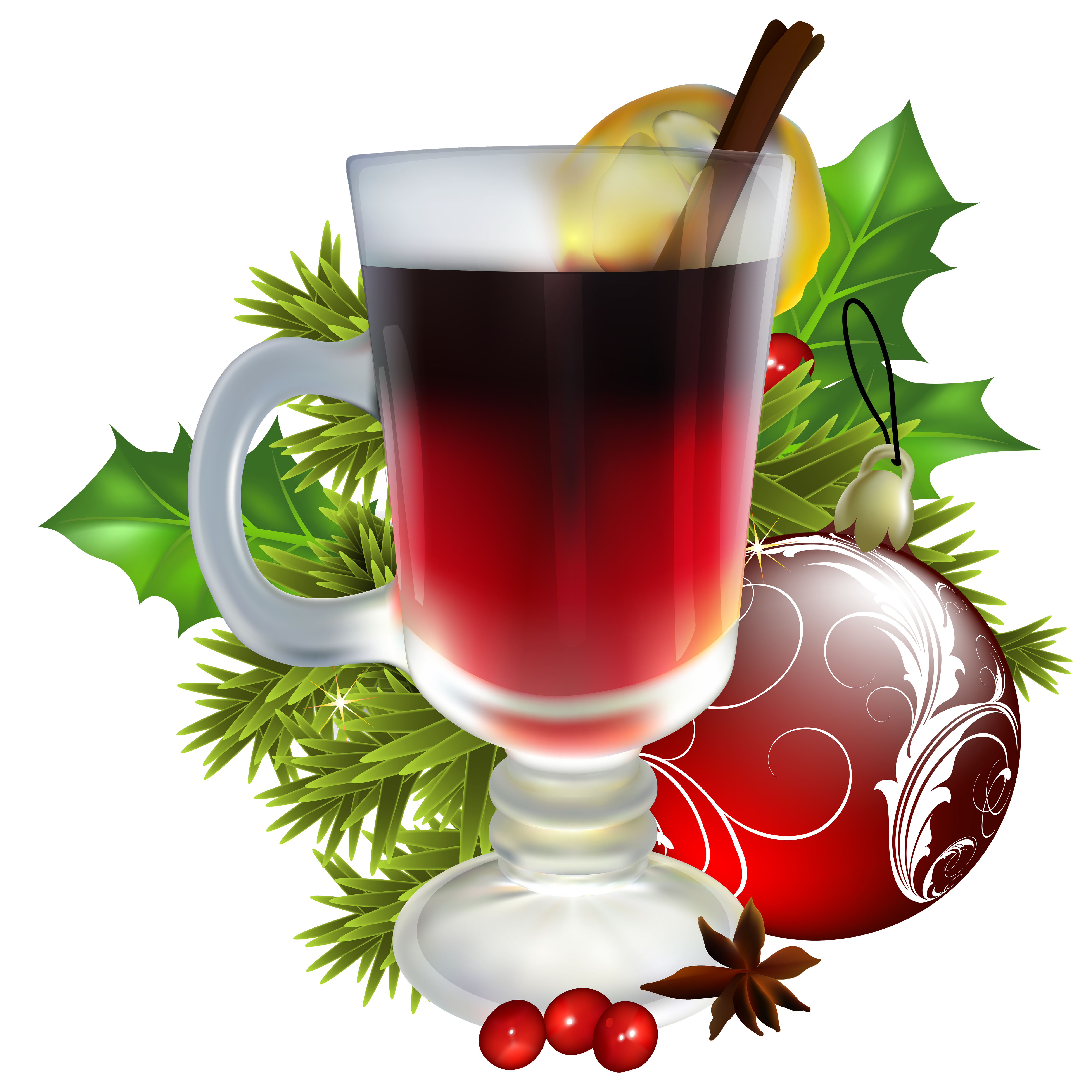 Drink clipart xmas. Christmas tea with decorations