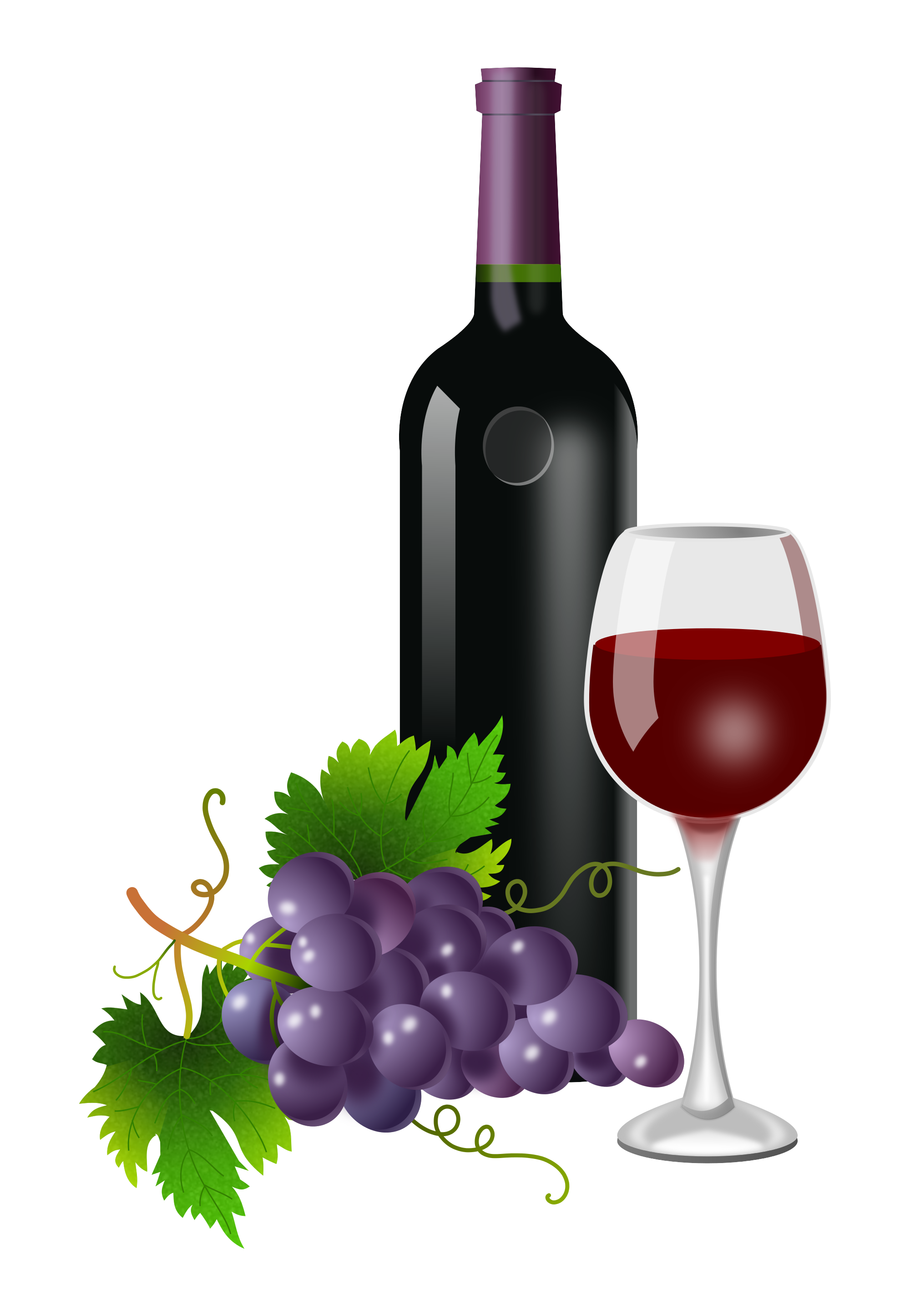 Purple grapes bottle and. Clipart hippo wine