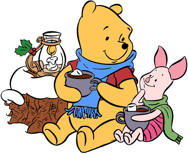 Winnie the pooh christmas. Holiday clipart hot cocoa