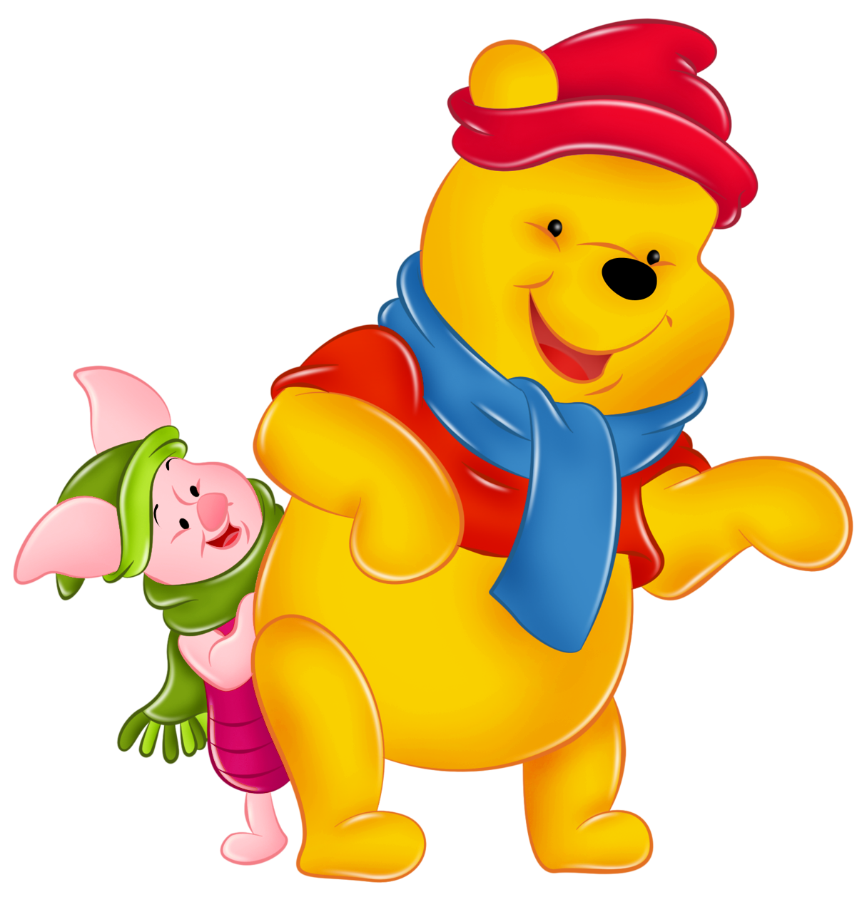 And piglet with hats. Winter clipart winnie the pooh