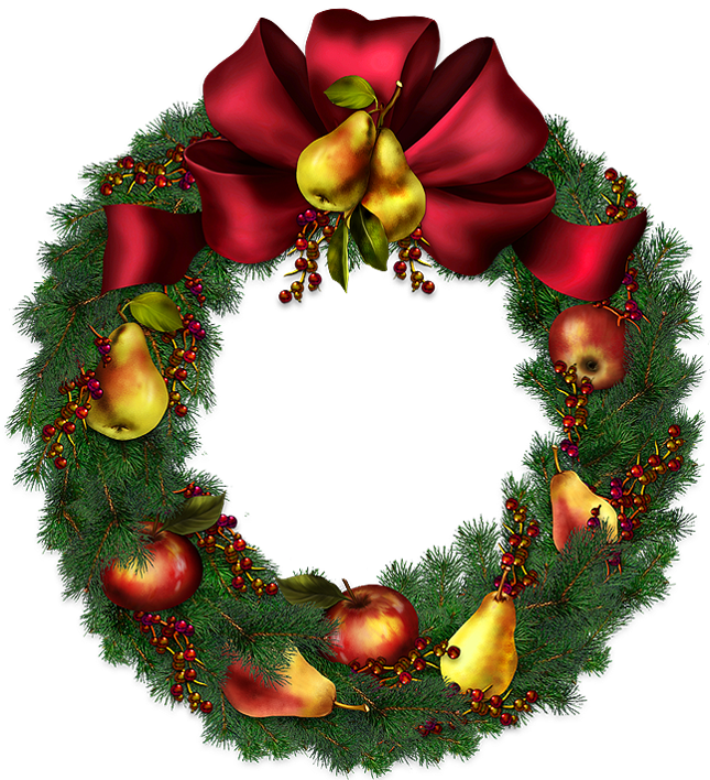 Christmas wreath transparent picture. Poinsettias clipart holiday