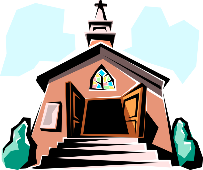 Entrance with steps vector. Clipart church cathedral