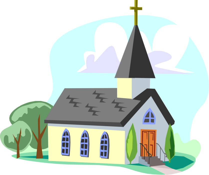 Clipart church cathedral. With steeple vector image