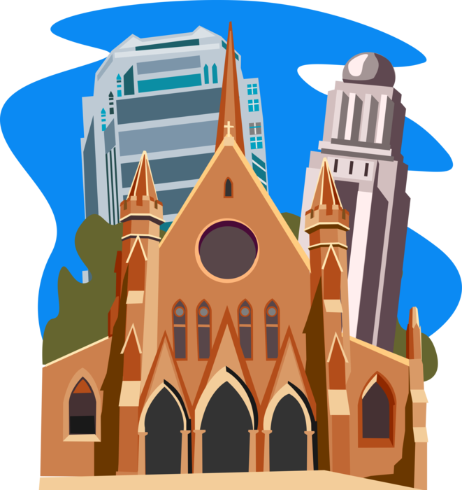 Office tower london vector. Clipart church cathedral