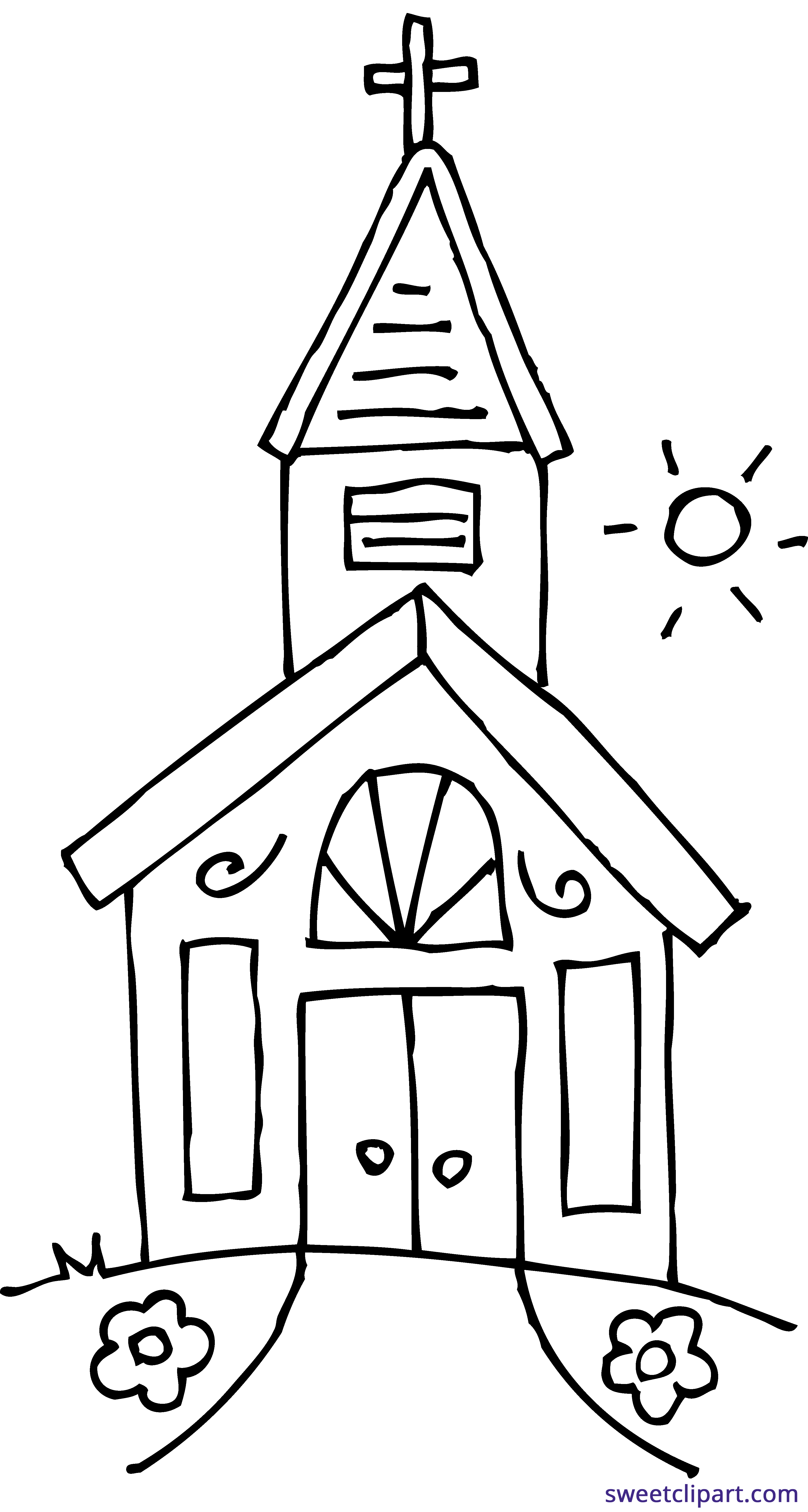 Coloring page sweet clip. Winter clipart church
