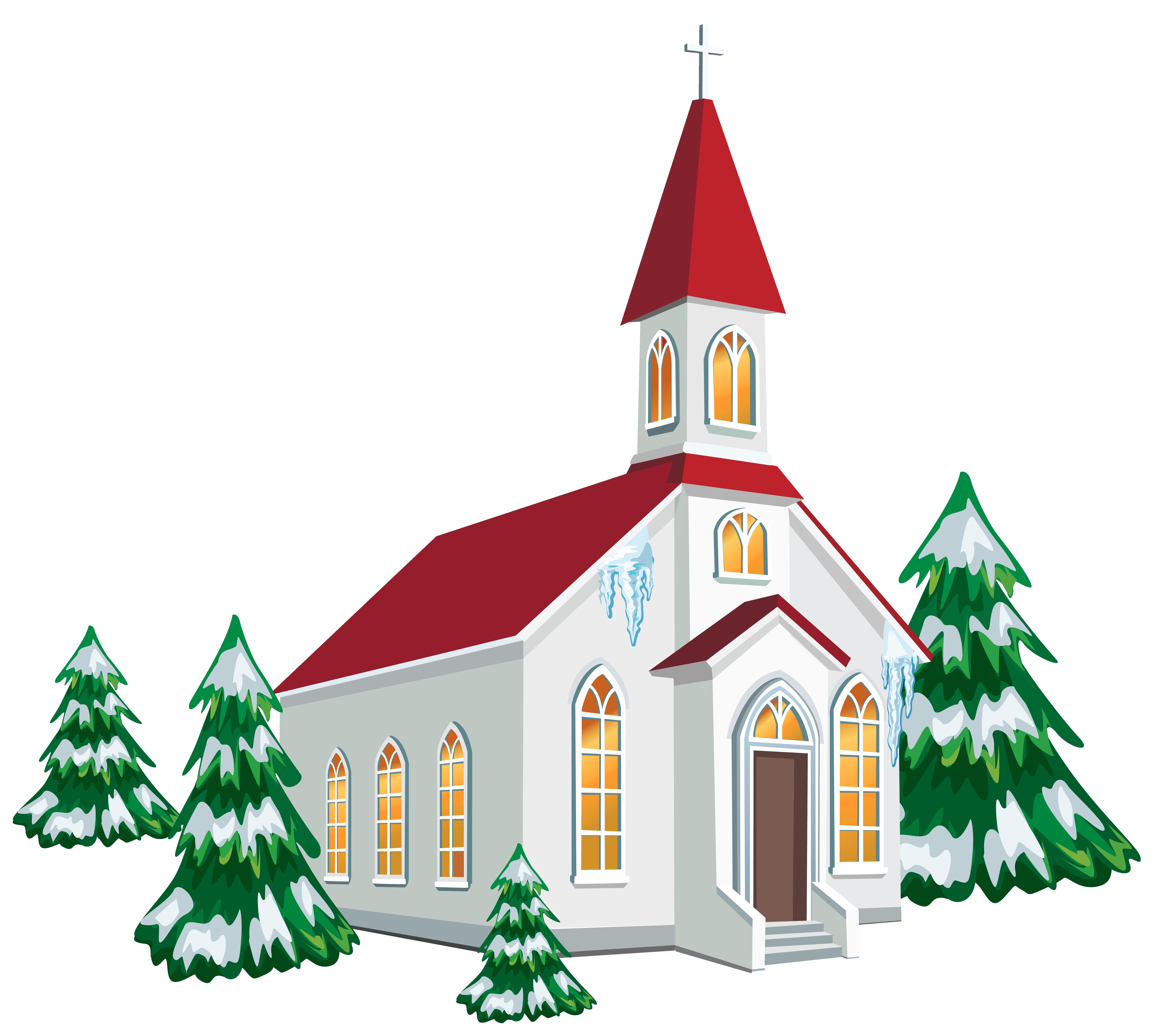 Clipart winter family. Christmas church service clip