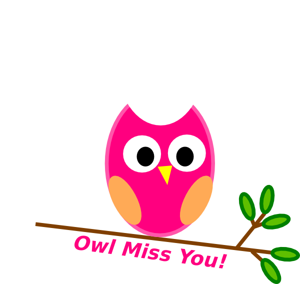 Clipart mom miss you. Owl pink clip art