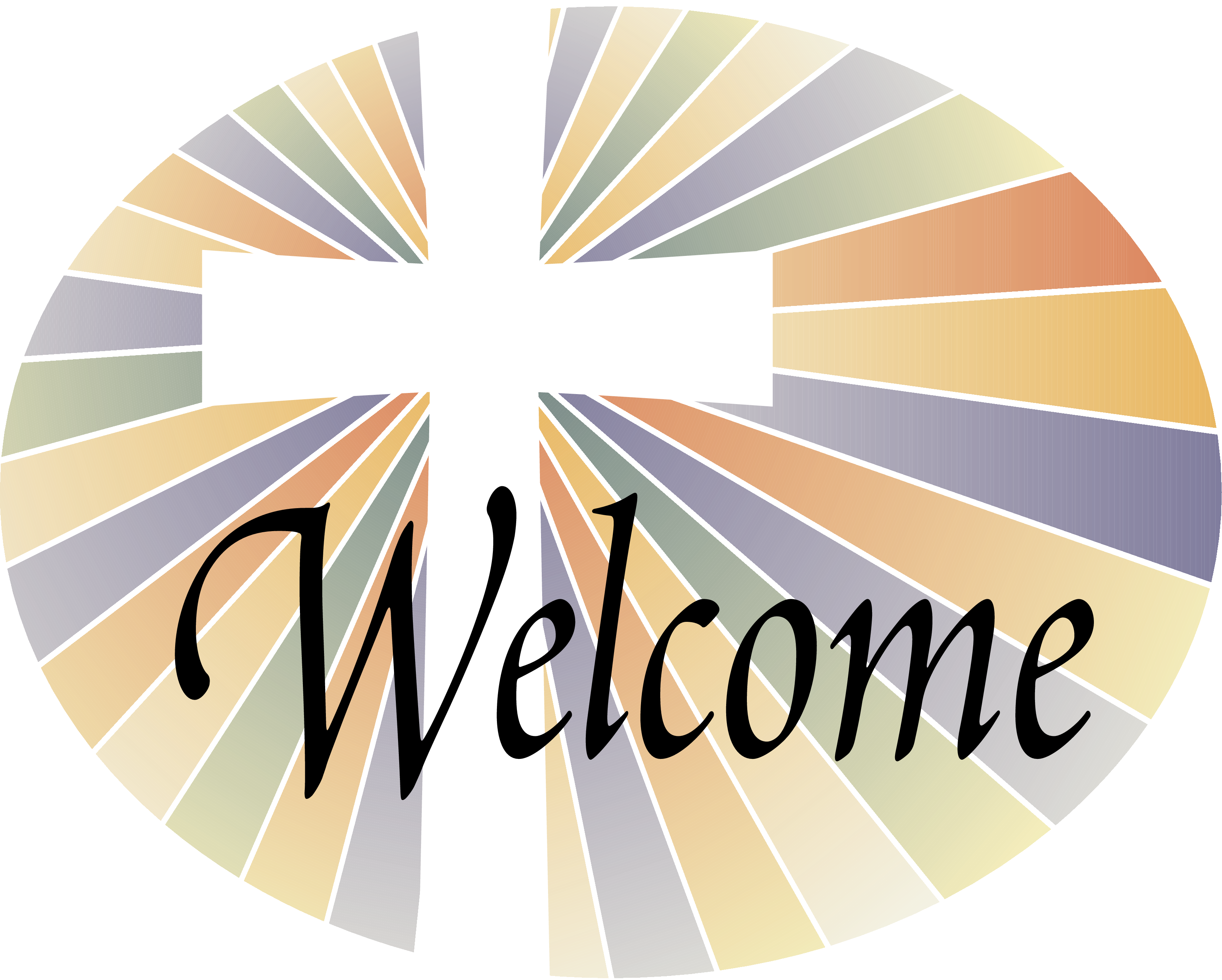 Cross with color rays. Community clipart parishioner