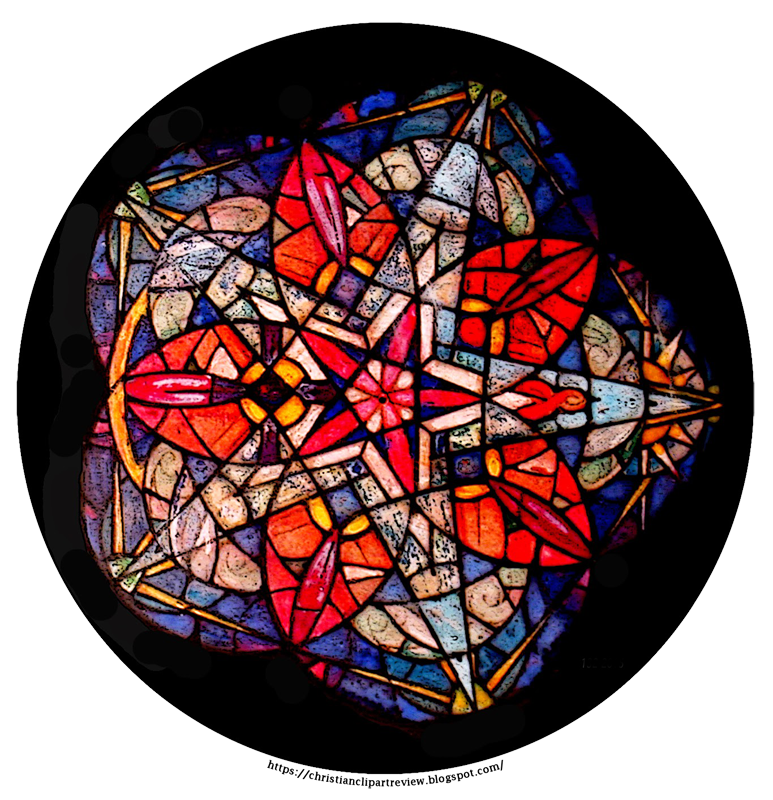Rose window red flower. Nativity clipart stained glass