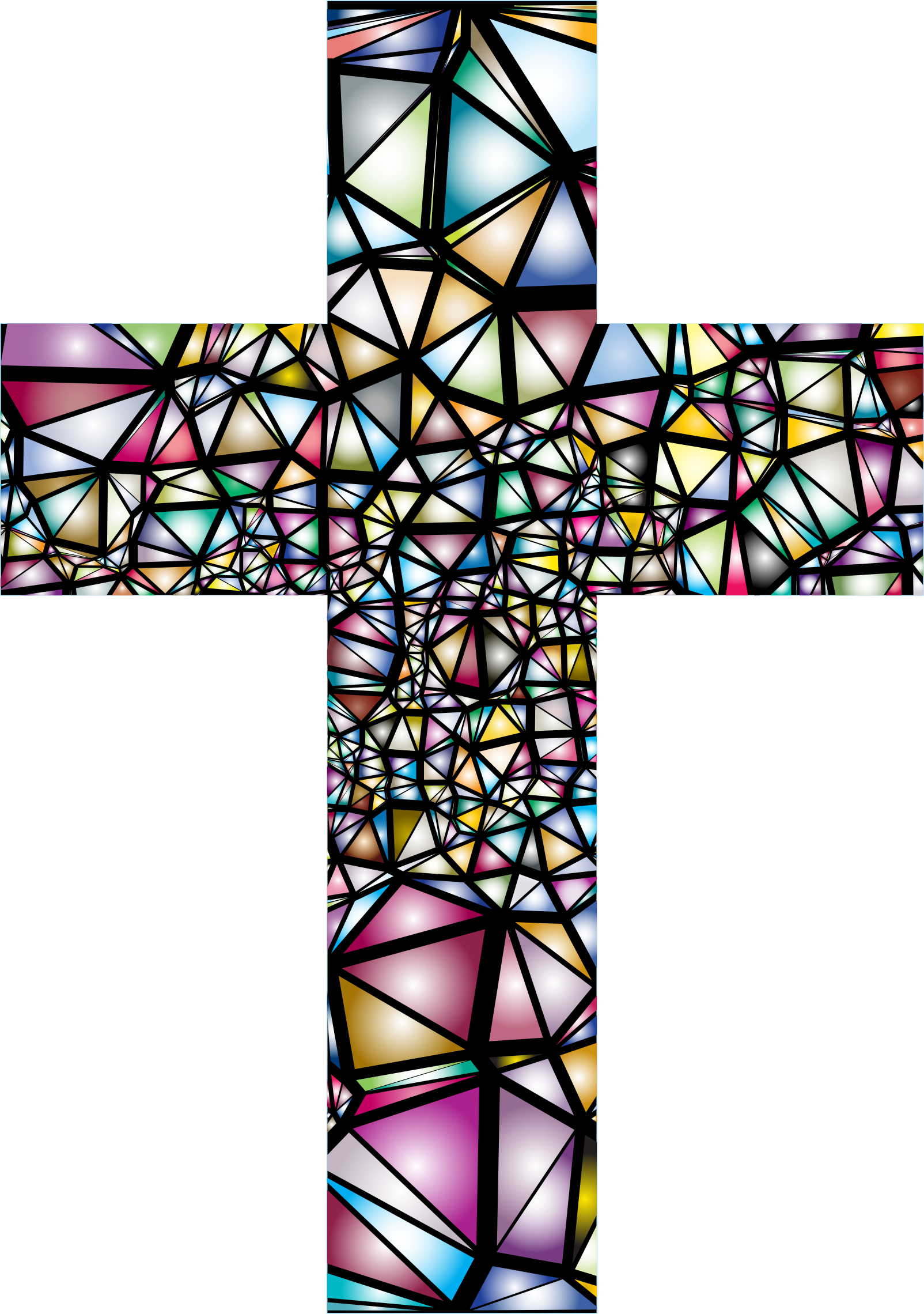 Low poly big image. Cross clipart stained glass