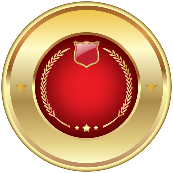 Plaque clipart gold. Seal badge red png