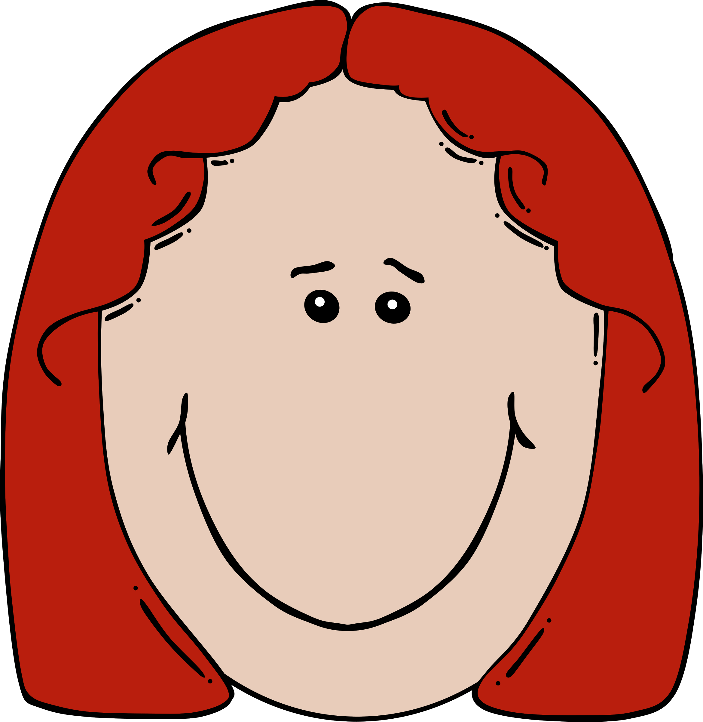 Face cartoon big image. Lady clipart animated