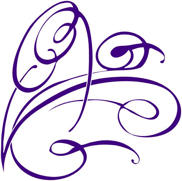 Decorative swirl clip art. Filigree clipart purple