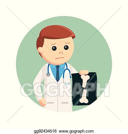 Xray clipart xray broken bone. Eps illustration doctor holding