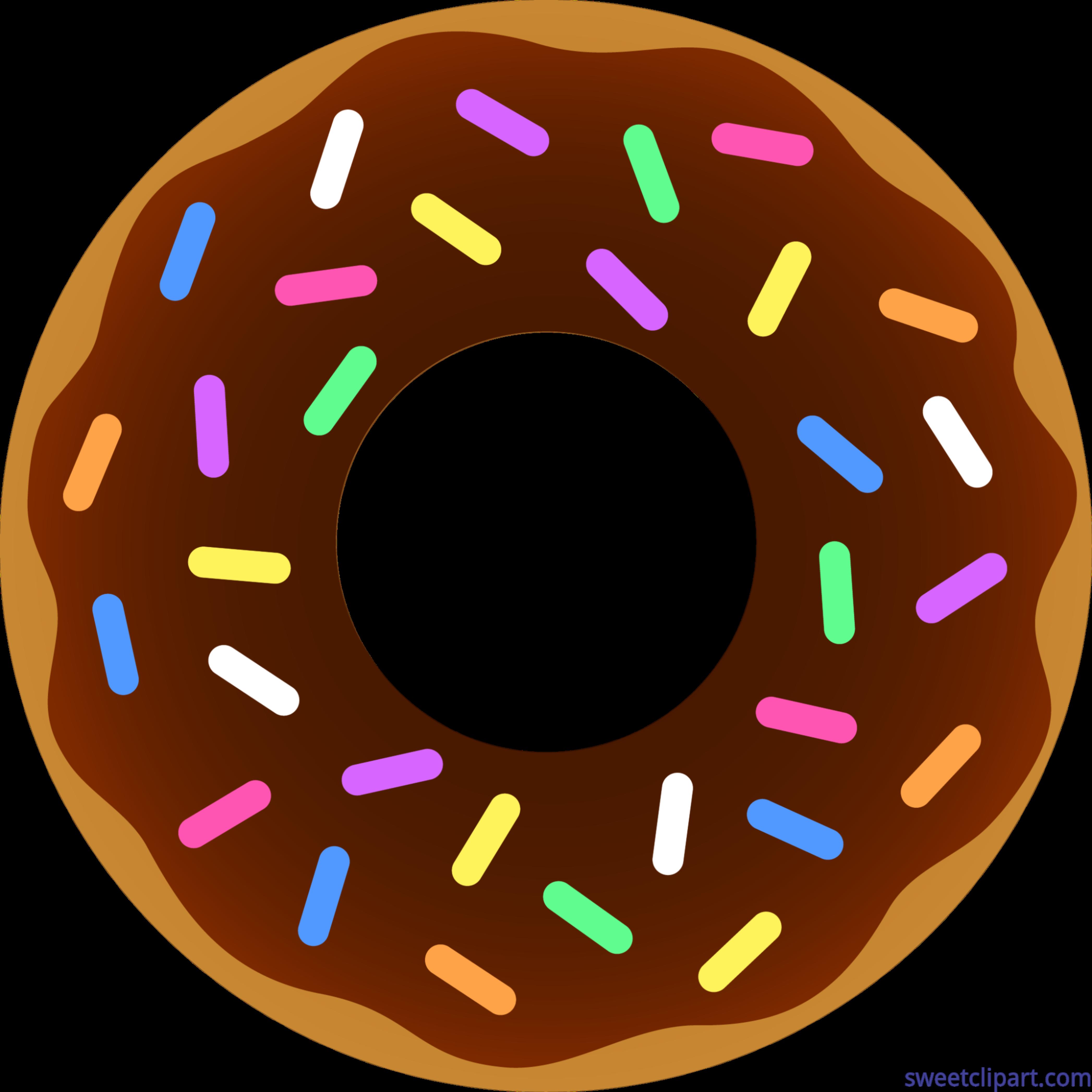 Donut clipart circle. Chocolate sprinkles clip art