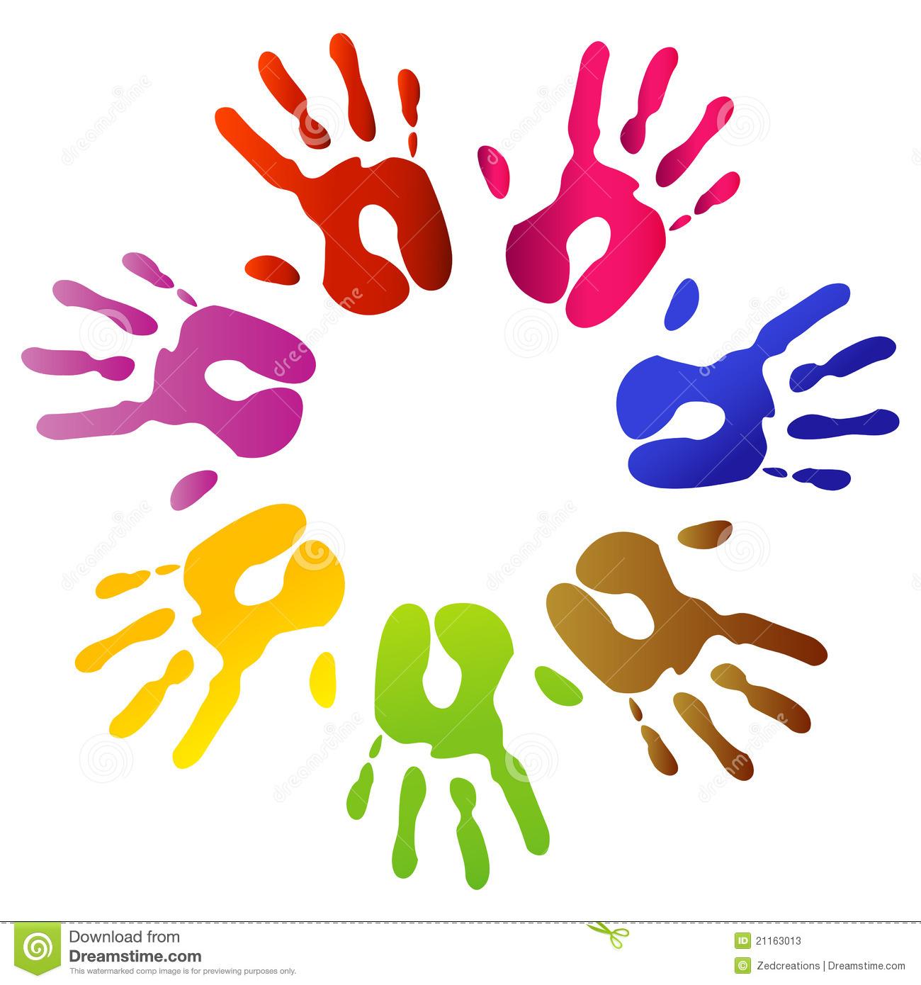 Handprint clipart circle. Hand print clip art