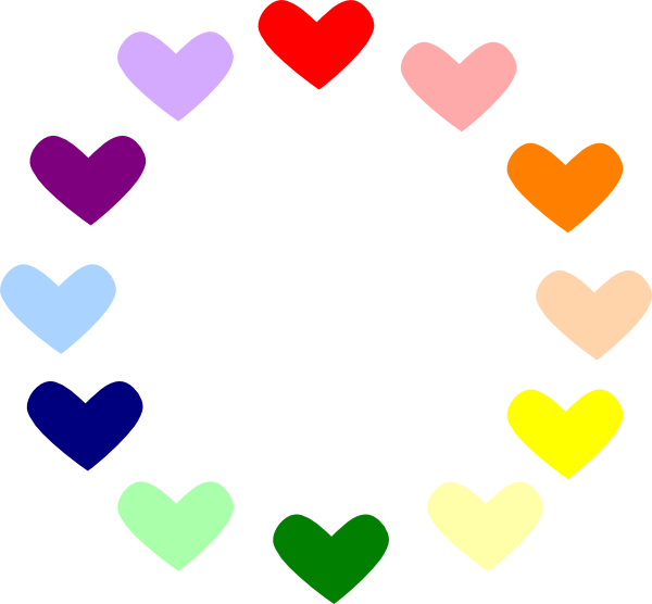 Hearts clipart circle. Heart rainbow clip art