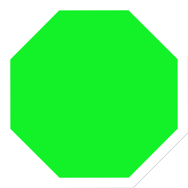 Green stop sign clip. Square clipart bright