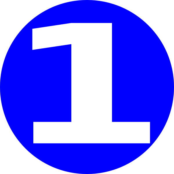 Number 1 clipart circle. Glossy blue icon with