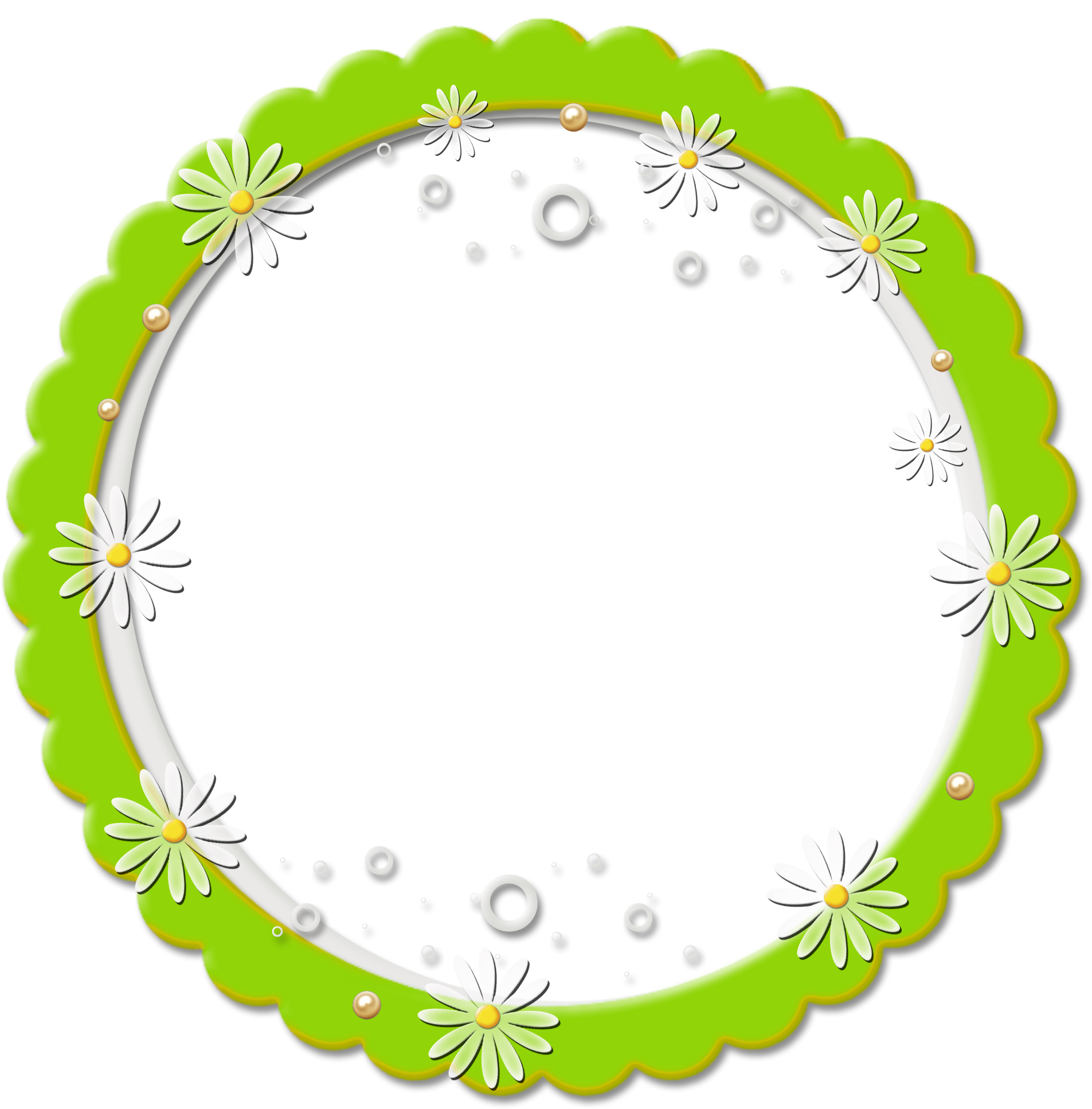 Cute png round daisy. Frames clipart frog
