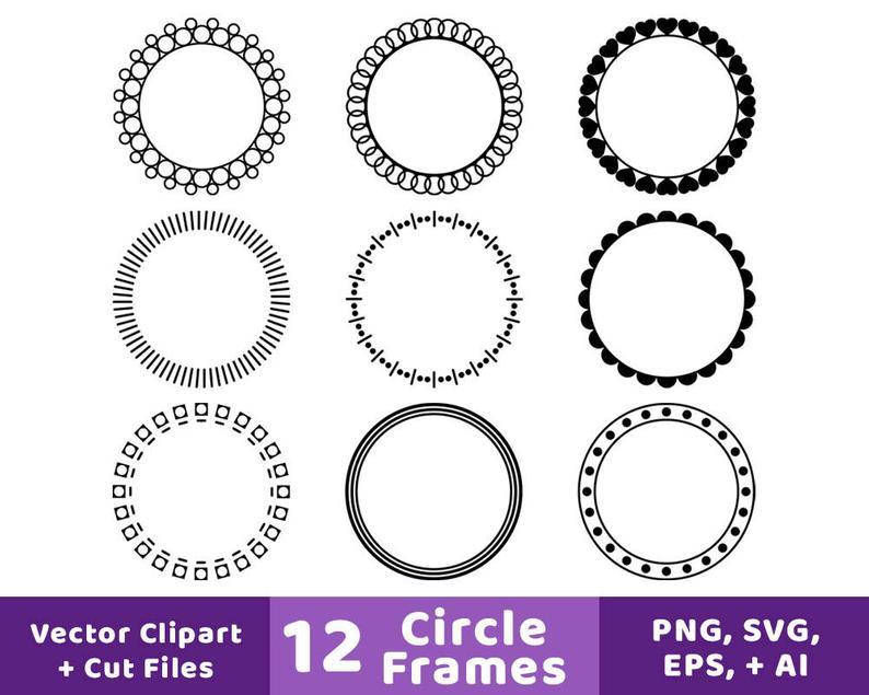 monogram frame svg. Clipart frames circle