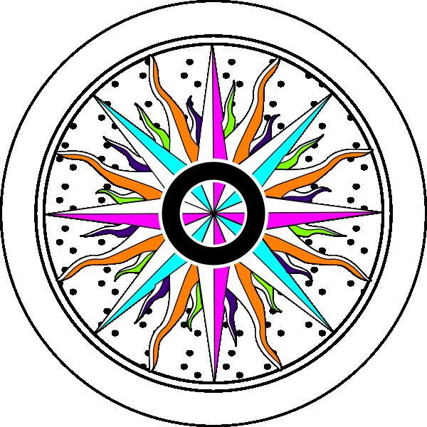 Colorful rose clip art. Clock clipart compass