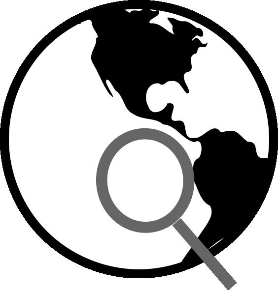 Simple black and white. Globe clipart symbol
