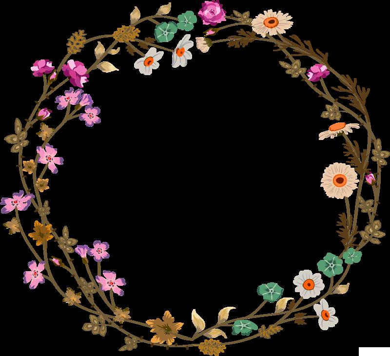 Flower circle png. Colorful simplicity vine border