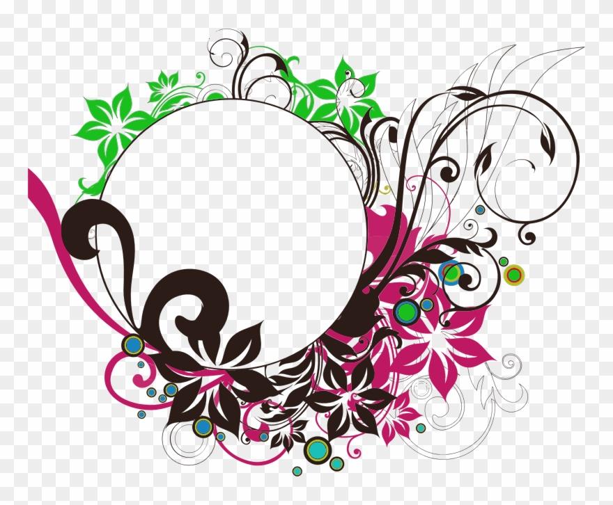 Clipart wedding circle. Floral flourish round frame