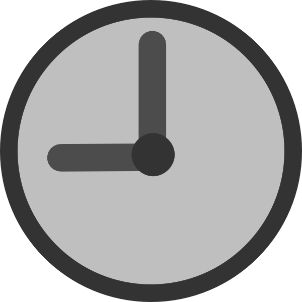 Gray clock pencil and. Clocks clipart simple