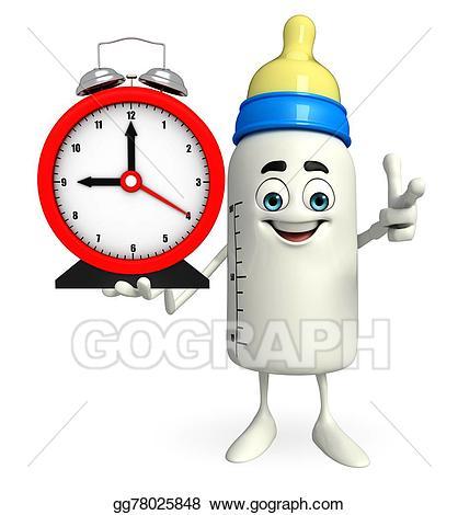 Stock illustration bottle character. Clocks clipart baby