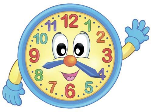 Clock clipart kindergarten. Cartoon baby design vector