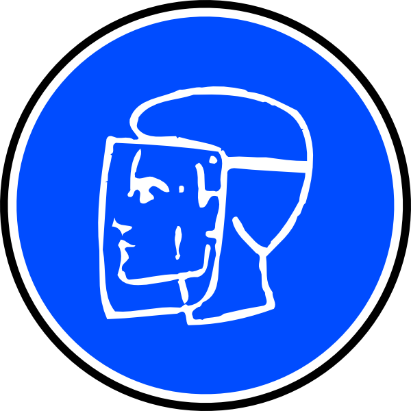 Mandatory face protection clip. Clipart clock blue