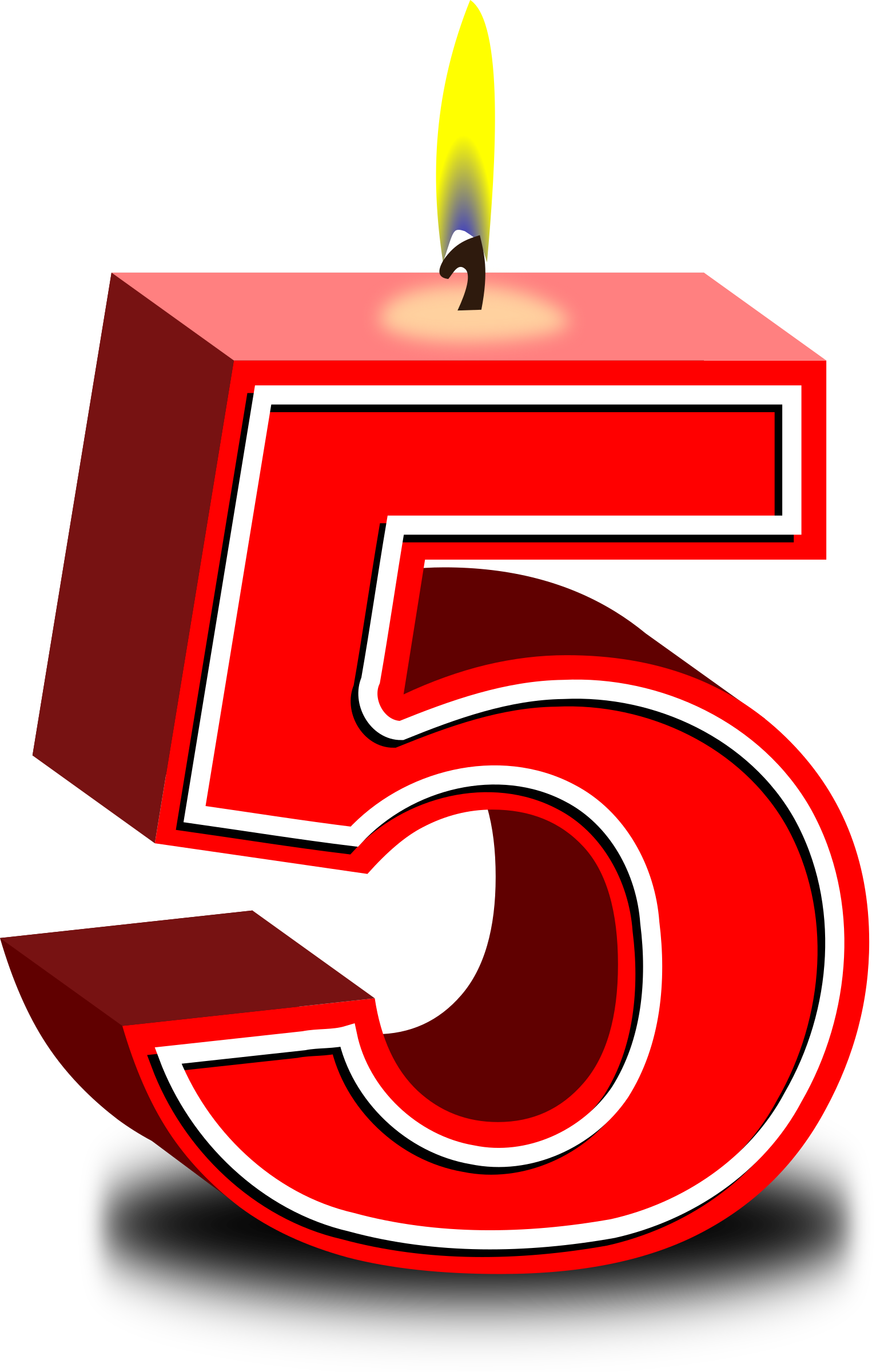 Five candle pencil and. Number 1 clipart birthday number 5