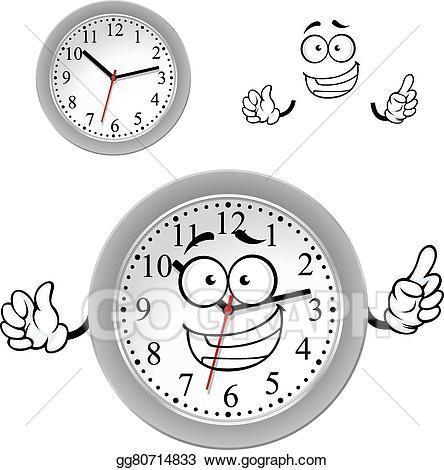Clipart clock character. Vector art cartoon gray