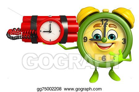 Stock illustration table with. Clipart clock character