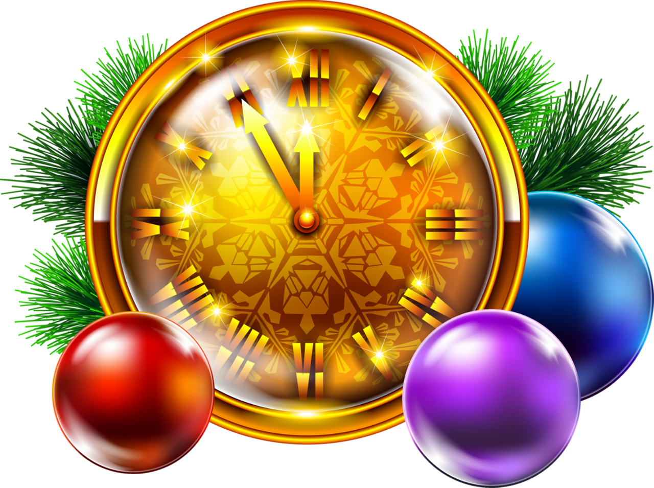Transparent golden clock with. Clocks clipart christmas
