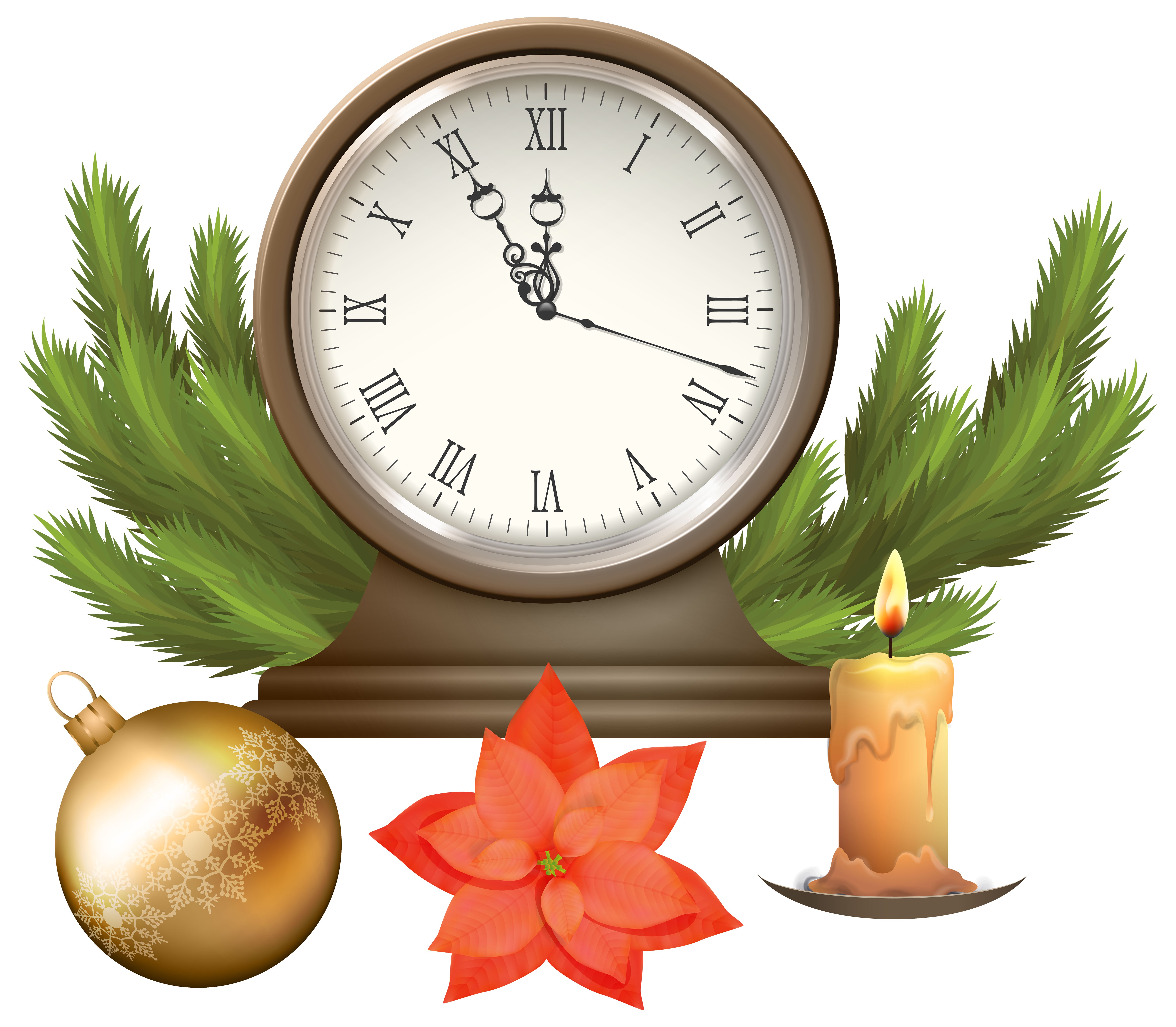 Christmas with decorations png. Clock clipart happy