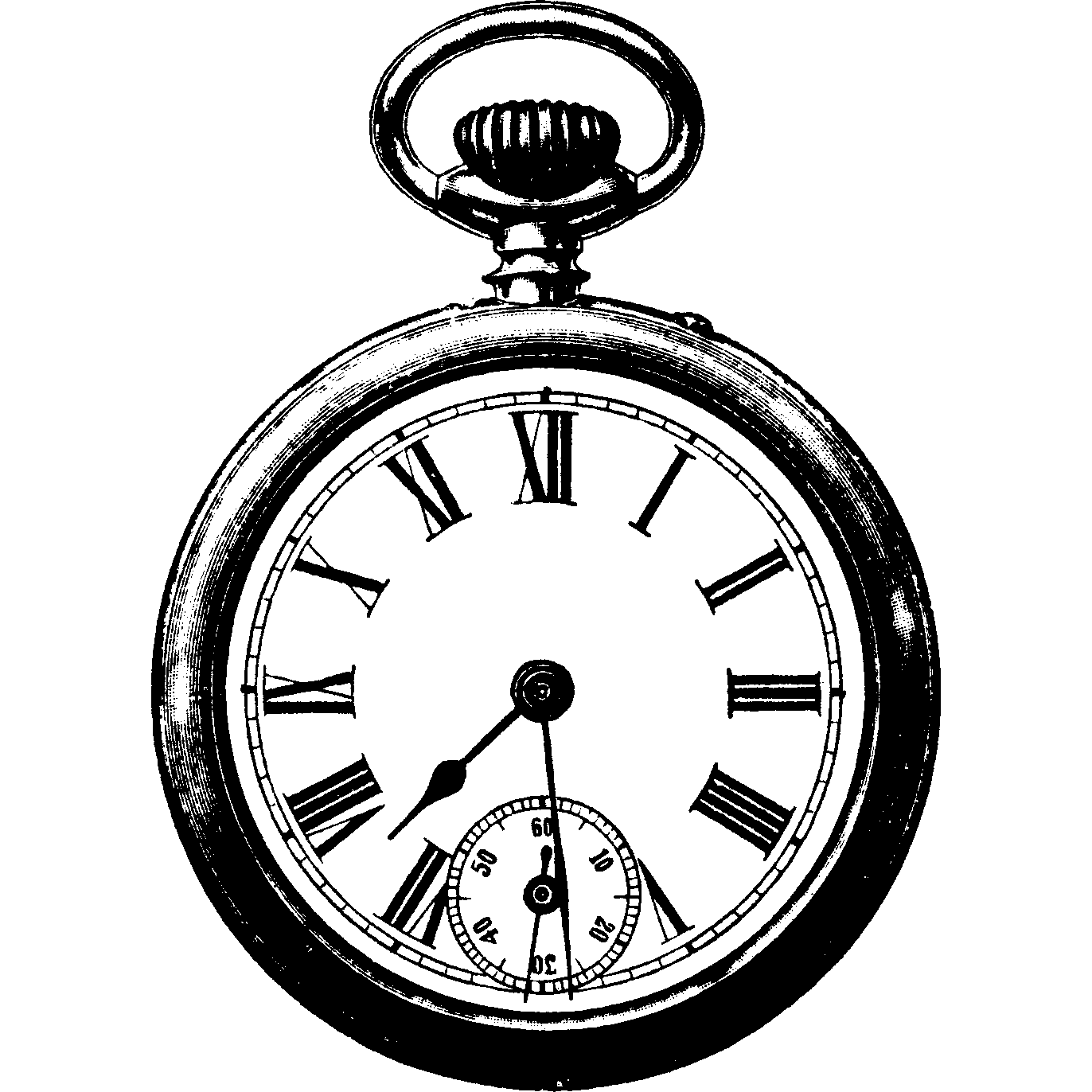 Vintage pocket watch bw. Clocks clipart clear background