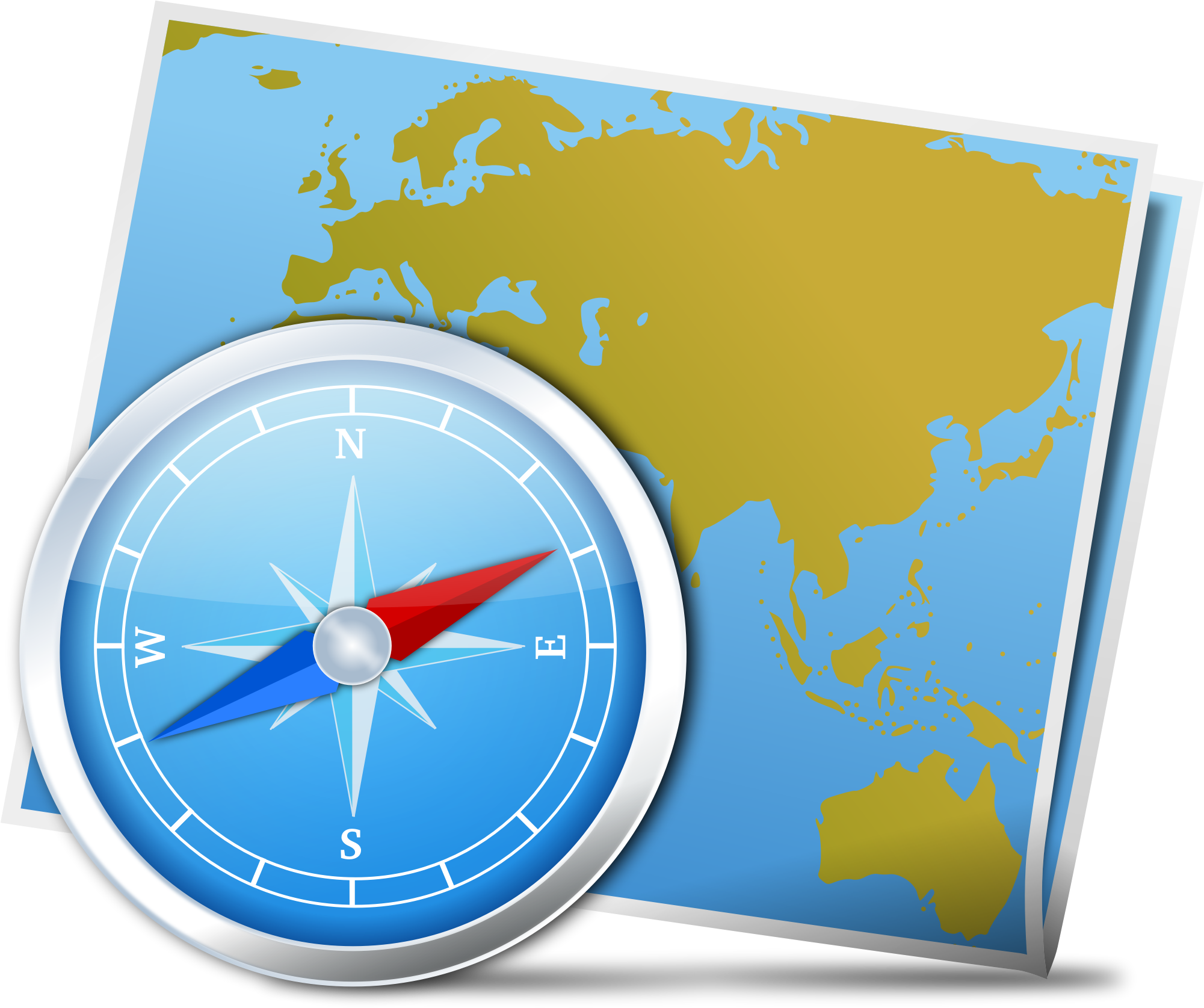 Map and big image. Clock clipart compass